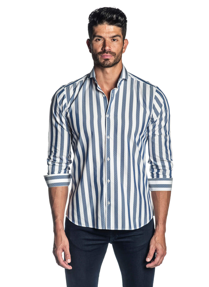 White and Blue Stripe Shirt for Men AH-ITA-T-9012 - Front - Jared Lang
