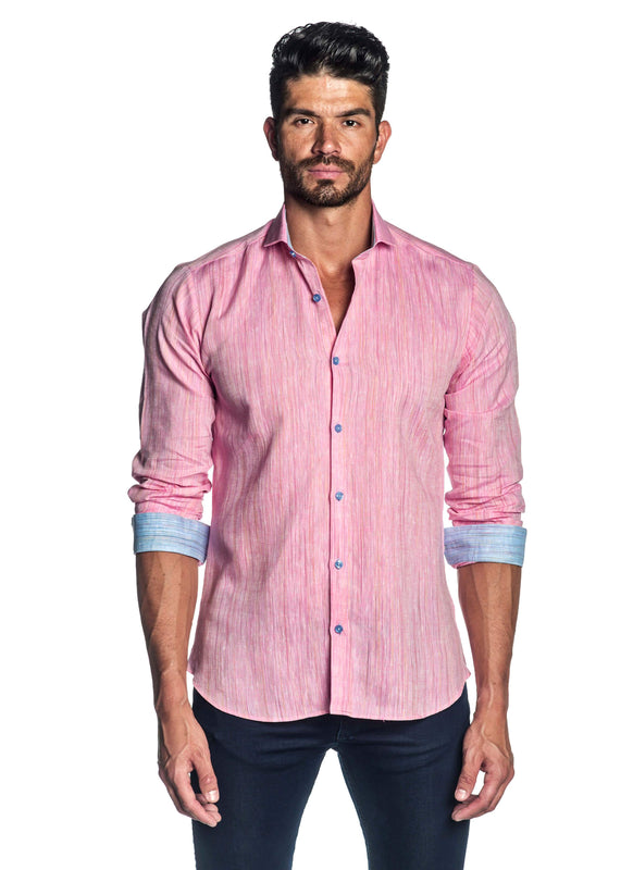Pink Melange Shirt for Men AH-ITA-T-9014 - Front - Jared Lang