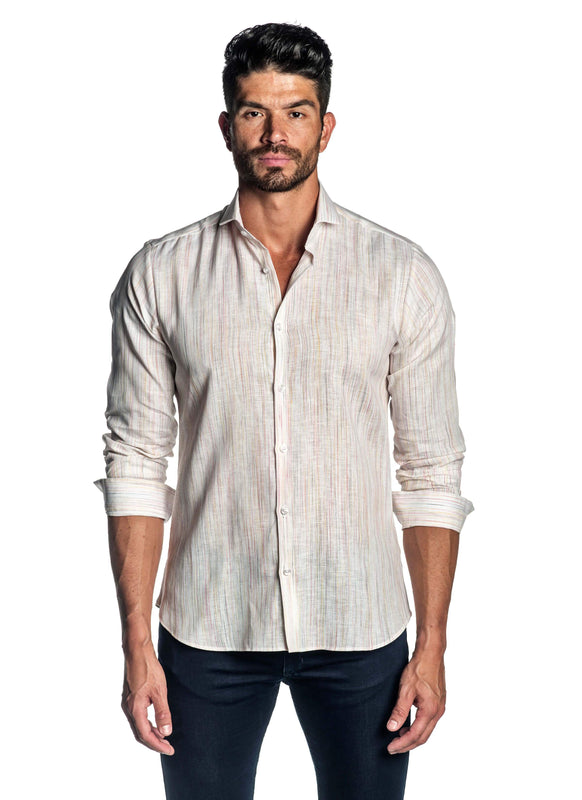 White Melange Shirt for Men AH-ITA-T-9015 - Front - Jared Lang