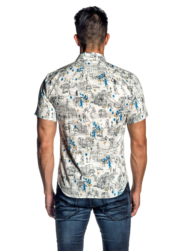 White Multicolor Print Short Sleeve Shirt for Men AH-ITA-T-9018-SS - Jared Lang
