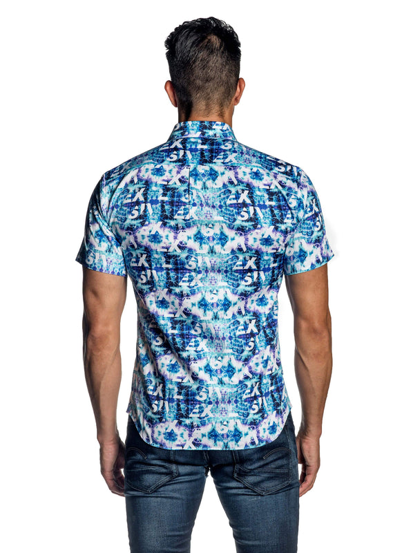 Turquoise Tie Dye Print Short Sleeve Shirt for Men AH-ITA-T-9021-SS - Back - Jared Lang
