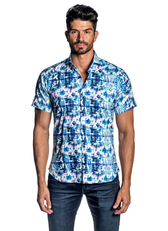 Turquoise Tie Dye Print Short Sleeve Shirt for Men AH-ITA-T-9021-SS - Front - Jared Lang