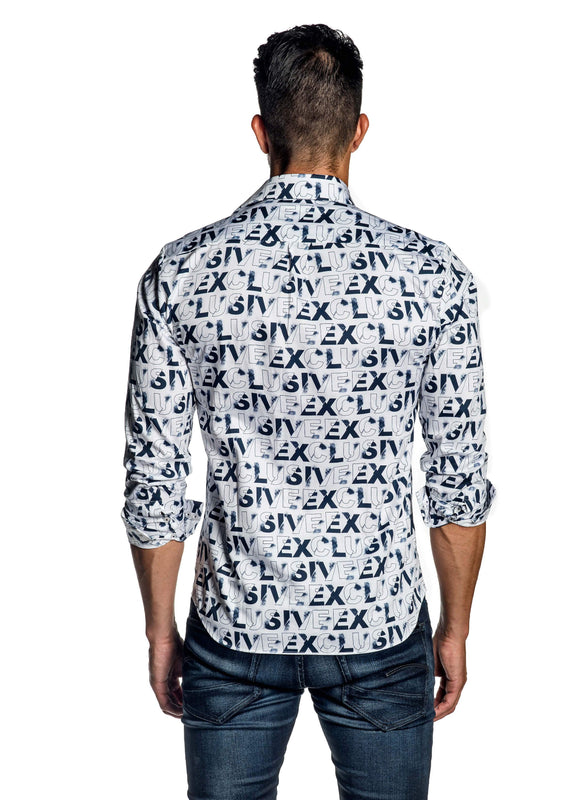 White Exclusive Print Shirt for Men AH-ITA-T-9024 - Back - Jared Lang