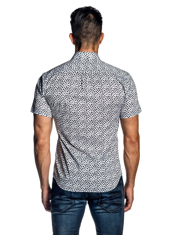 White Black Print Short Sleeve Shirt for Men AH-ITA-T-9124-SS - Back - Jared Lang