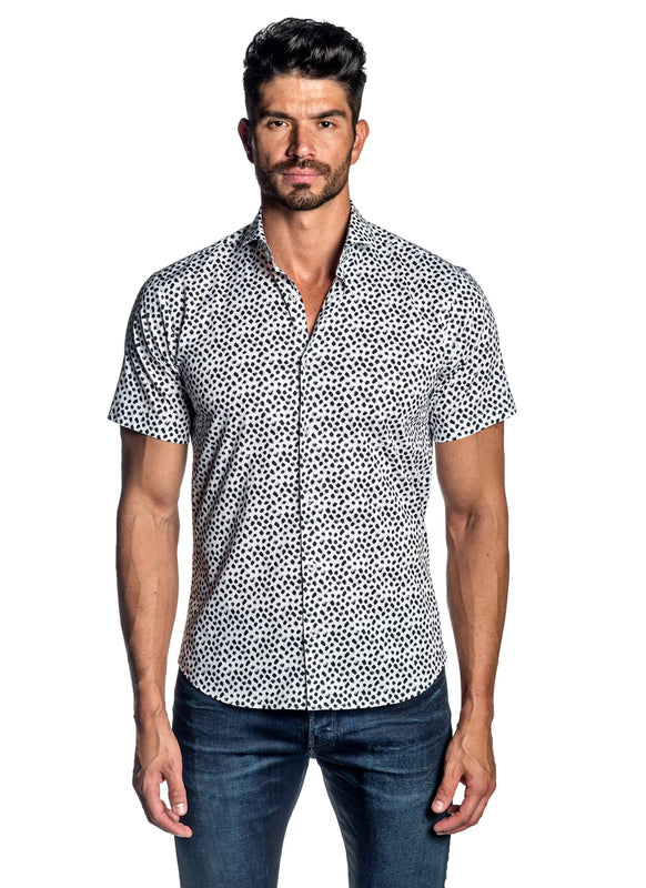 White Black Print Short Sleeve Shirt for Men AH-ITA-T-9124-SS - Front - Jared Lang