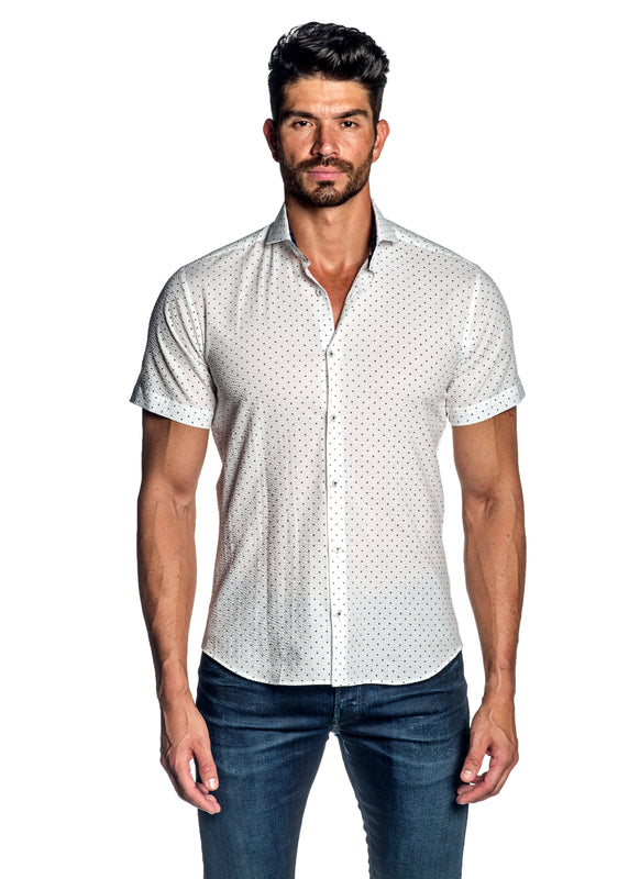 White Dotted Print Short Sleeve Shirt for Men AH-ITA-T-9128-SS - Front - Jared Lang