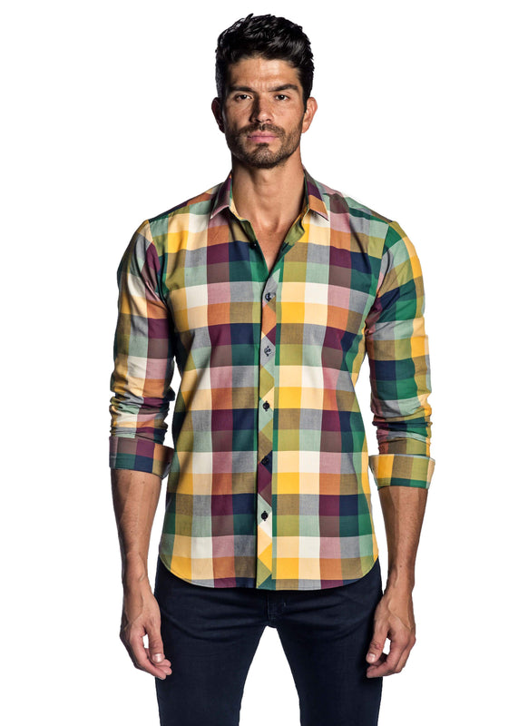 Navy Blue, Orange, Yellow and Green Plaid Shirt for Men - front AH-OT-2037