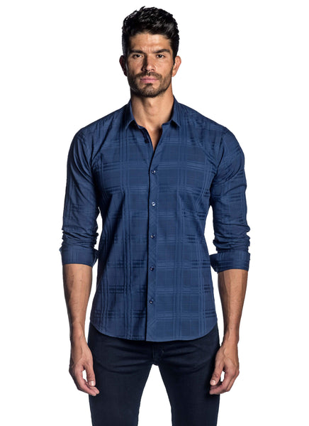 Navy Jacquard Plaid Shirt for Men AH-OT-2077 - Jared Lang