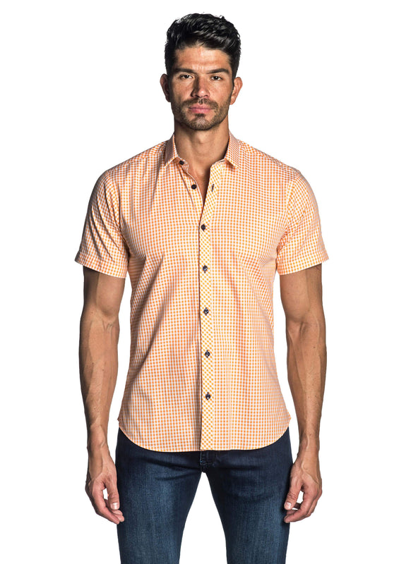 Orange Gingham Short Sleeve Shirt for Men AH-OT-7133-SS - Jared Lang