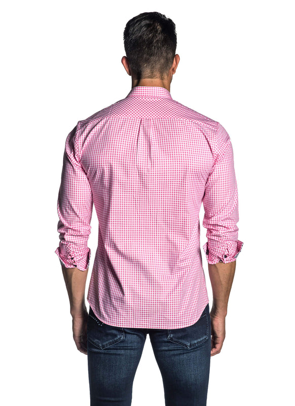 Pink Gingham Check Shirt for Men AH-OT-7135 - Back - Jared Lang