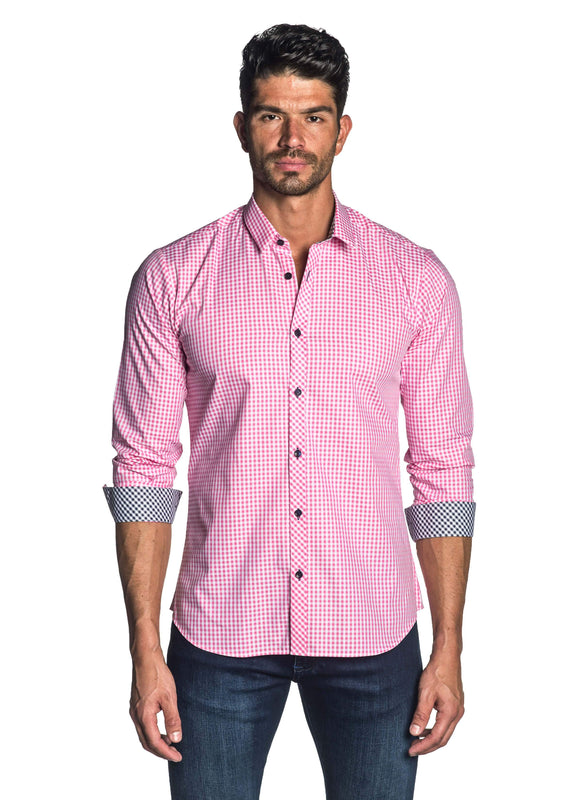 Pink Gingham Check Shirt for Men - front AH-OT-7135 - Jared Lang