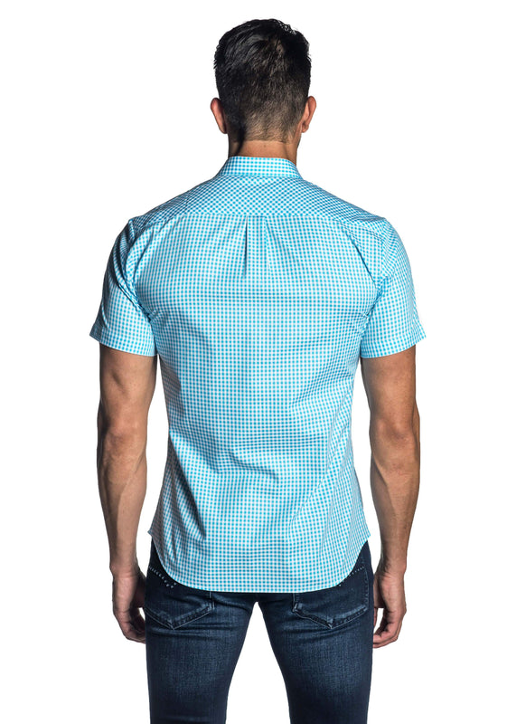 Turquoise Gingham Short Sleeve Shirt for Men AH-OT-7136-SS - Back - Jared Lang