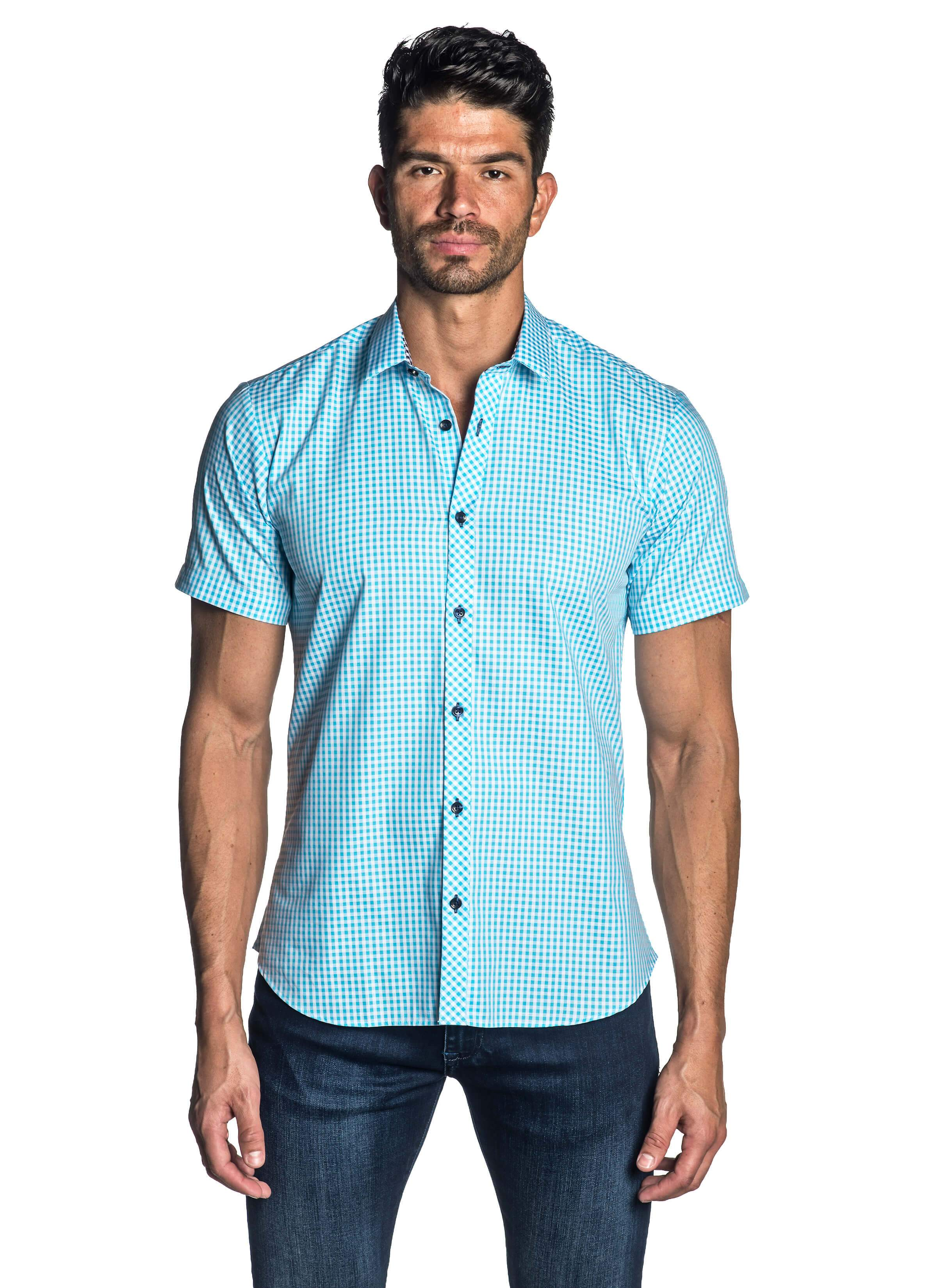 Turquoise Gingham Short Sleeve Shirt for Men - front AH-OT-7136-SS - Jared Lang