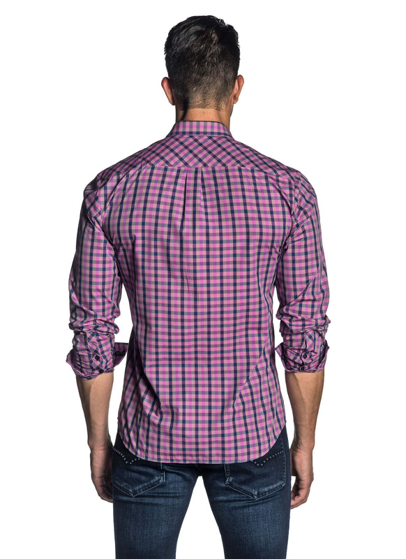 Purple and Navy Plaid Shirt for Men AH-OT-7900 - Back - Jared Lang