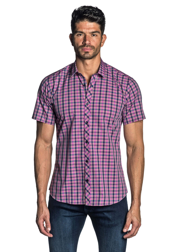 Purple Plaid Short Sleeve Shirt for Men - front AH-OT-7900-SS - Jared Lang