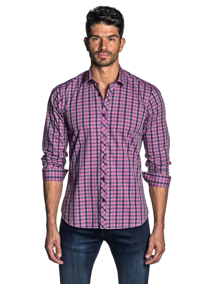 Purple and Navy Plaid Shirt for Men - front AH-OT-7900 - Jared Lang
