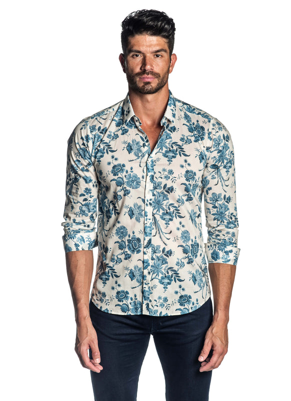 Off-White Blue Floral Shirt for Men AH-T-001 - Front - Jared Lang