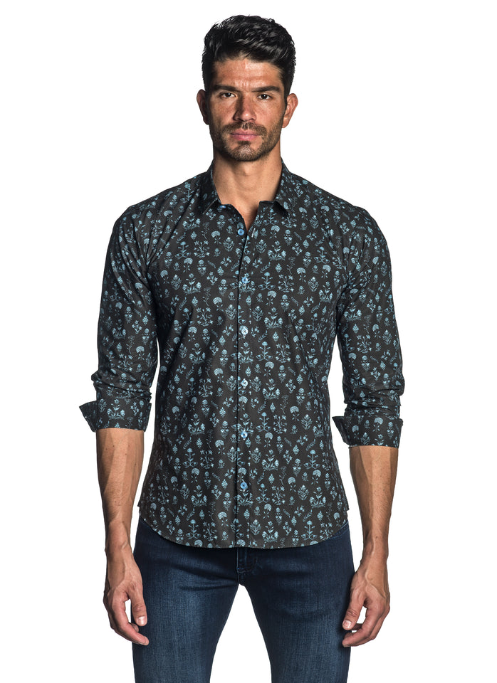 Brown and Light Blue Floral Shirt for Men AH-T-004 - Jared Lang