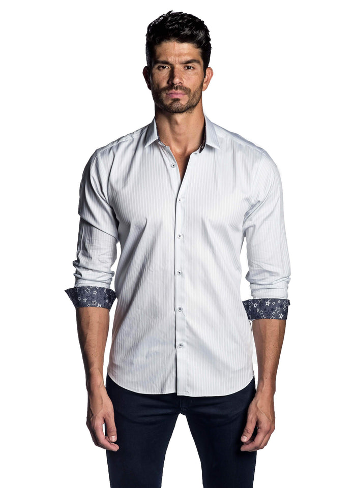 White Striped Shirt with Star Trim AH-T-2000 - Jared Lang