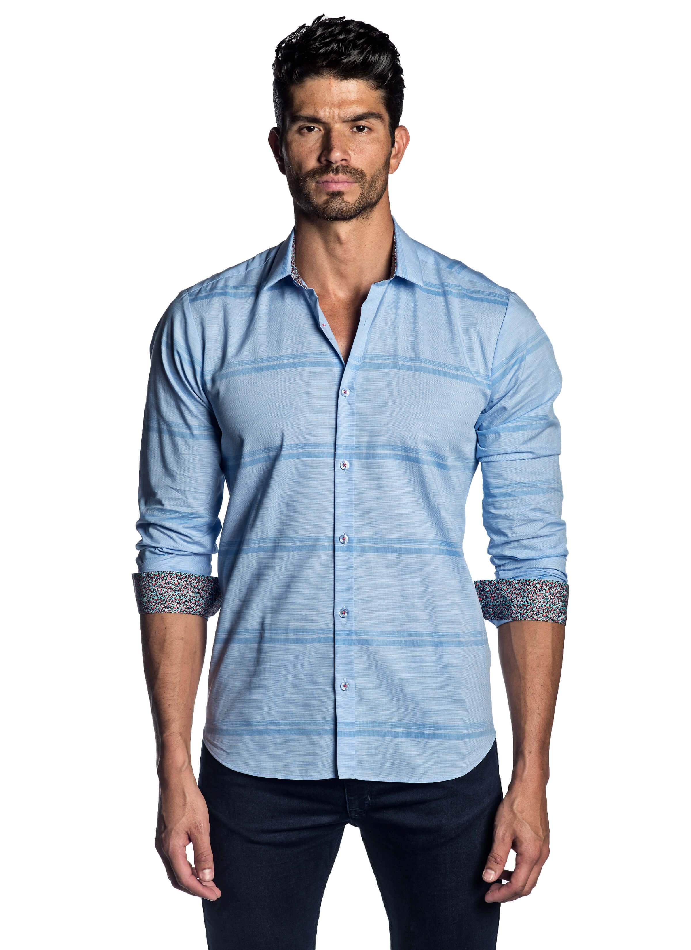 Men's Light Blue Striped Solid Shirt with Microprint Trimming - front AH-T-2001