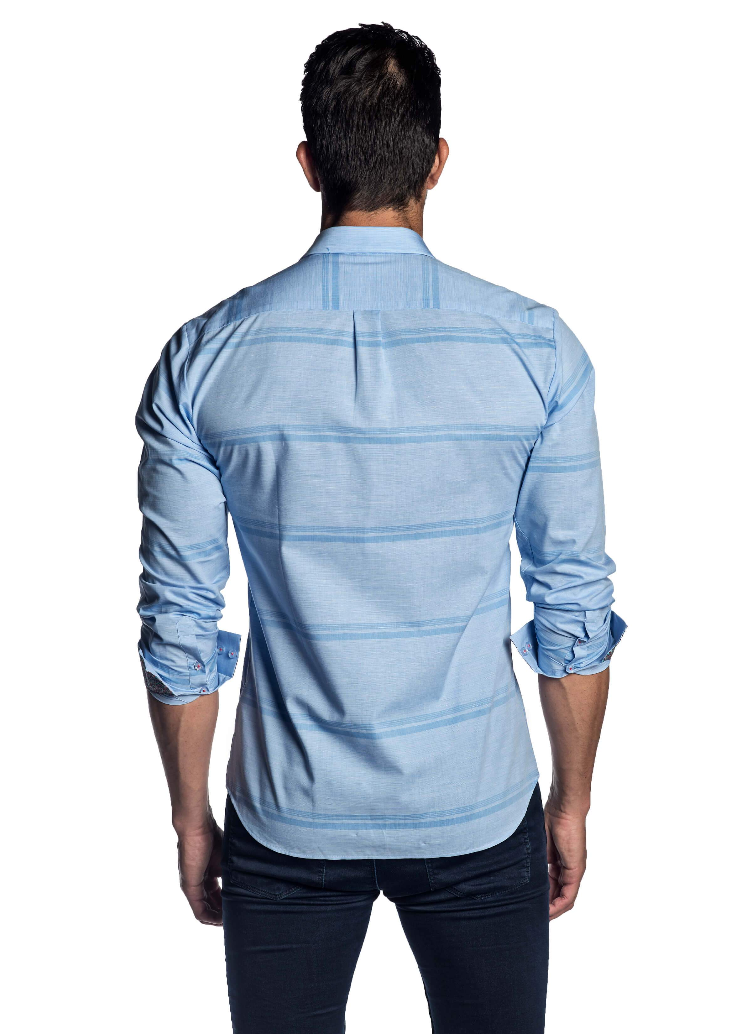 Men's Light Blue Striped Solid Shirt with Microprint Trimming - back AH-T-2001