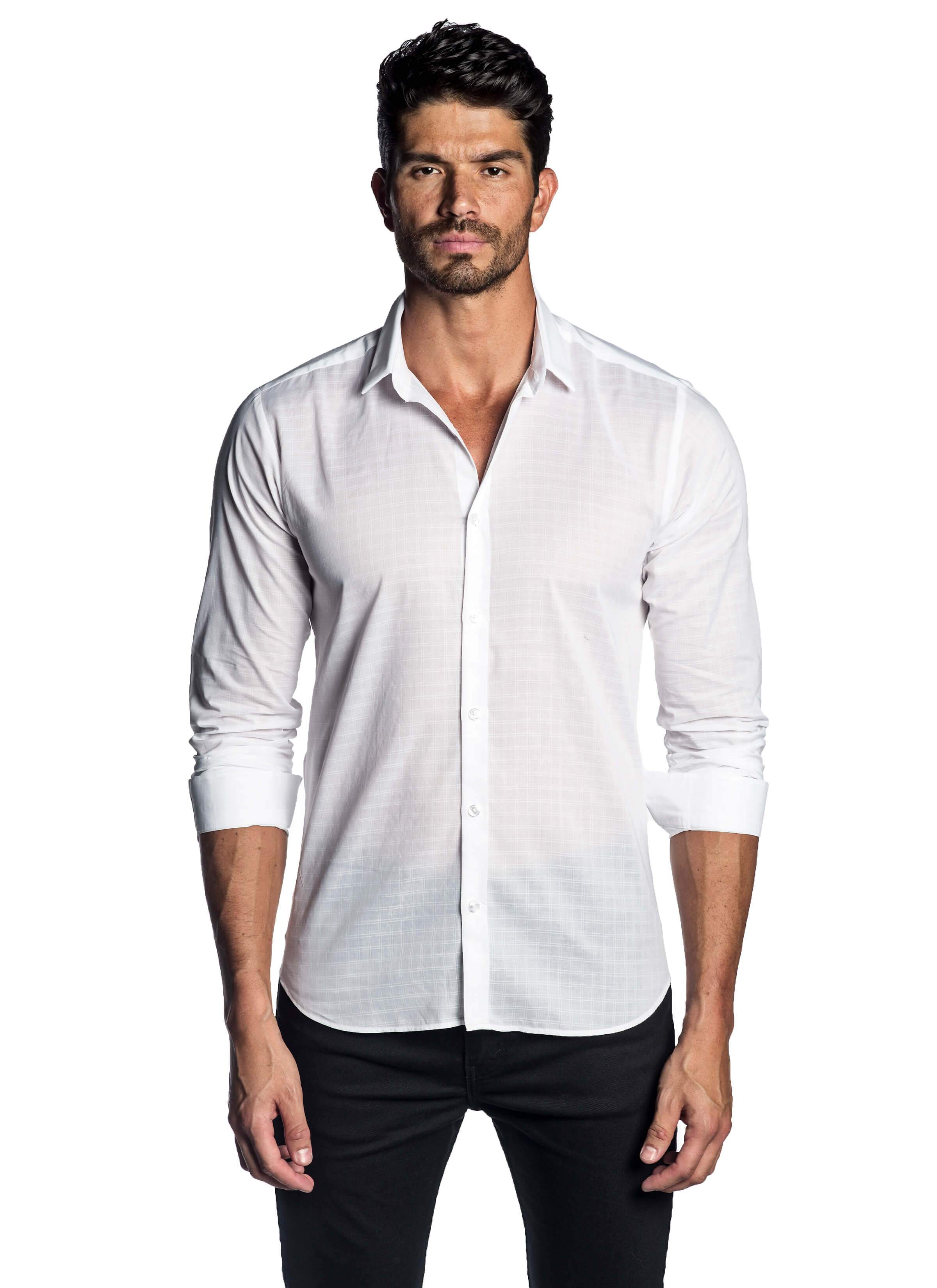 White Plaid Shirt for Men - front AH-T-2010 - Jared Lang