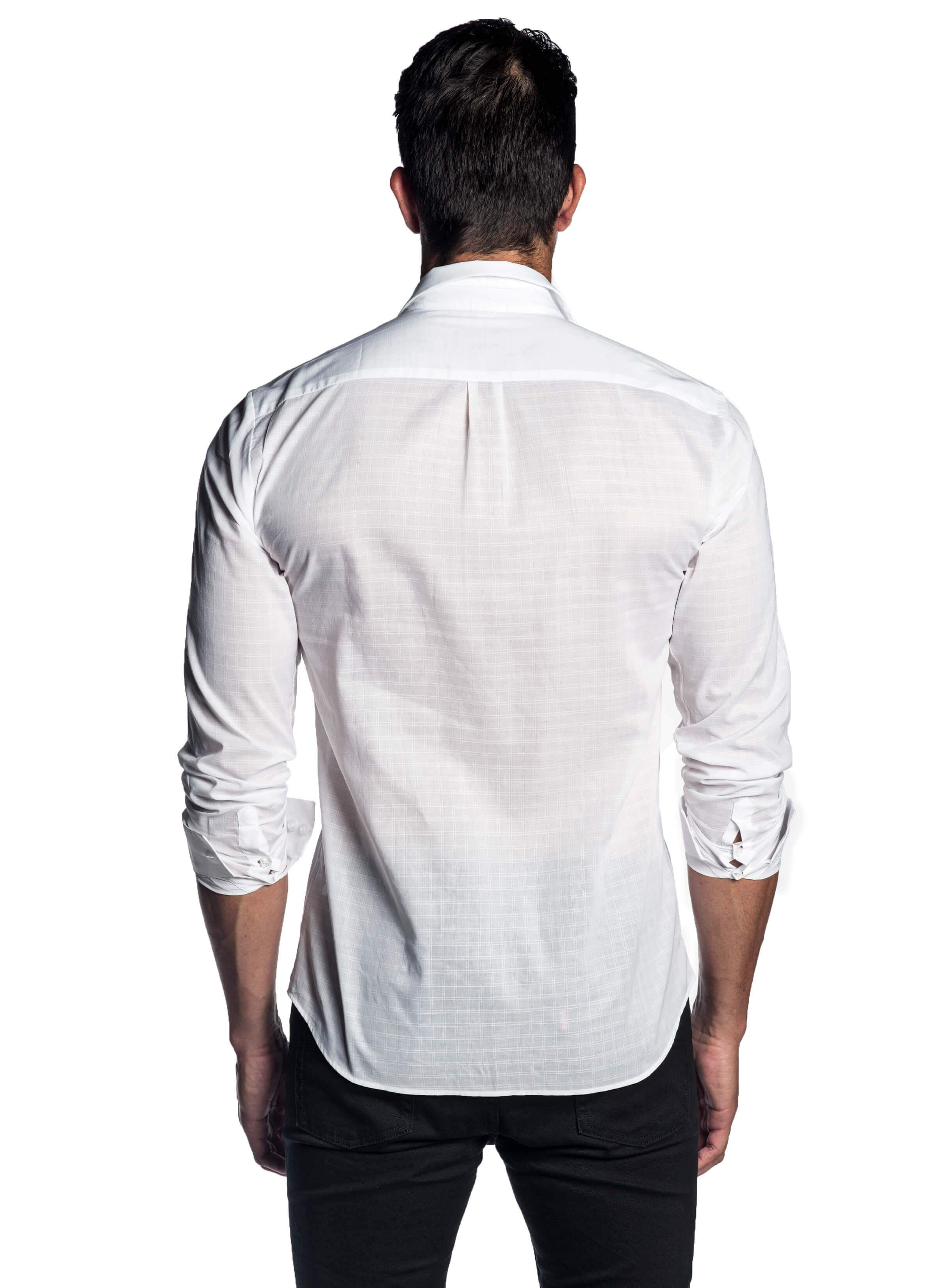 White Plaid Shirt for Men - back AH-T-2010 - Jared Lang