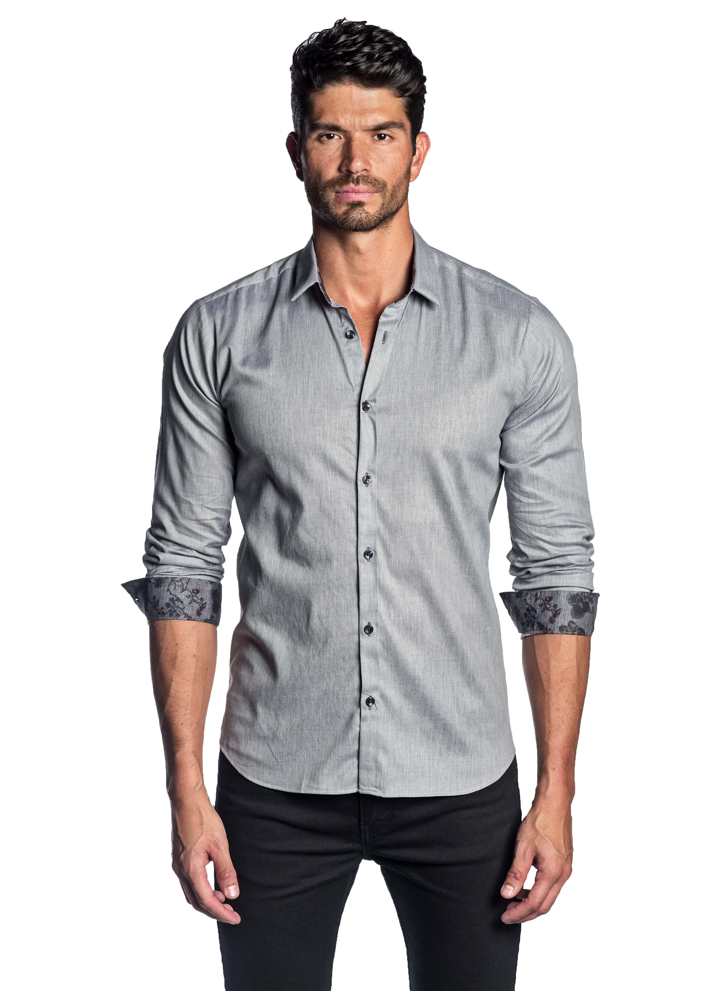 Grey Melange Solid Shirt with Floral Trim AH-T-2014 - Jared Lang