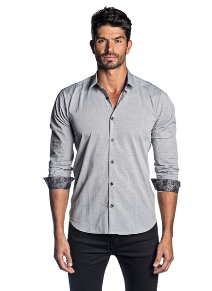 Men's Grey Solid with Floral Trim Shirt - front AH-T-2031 - Jared Lang
