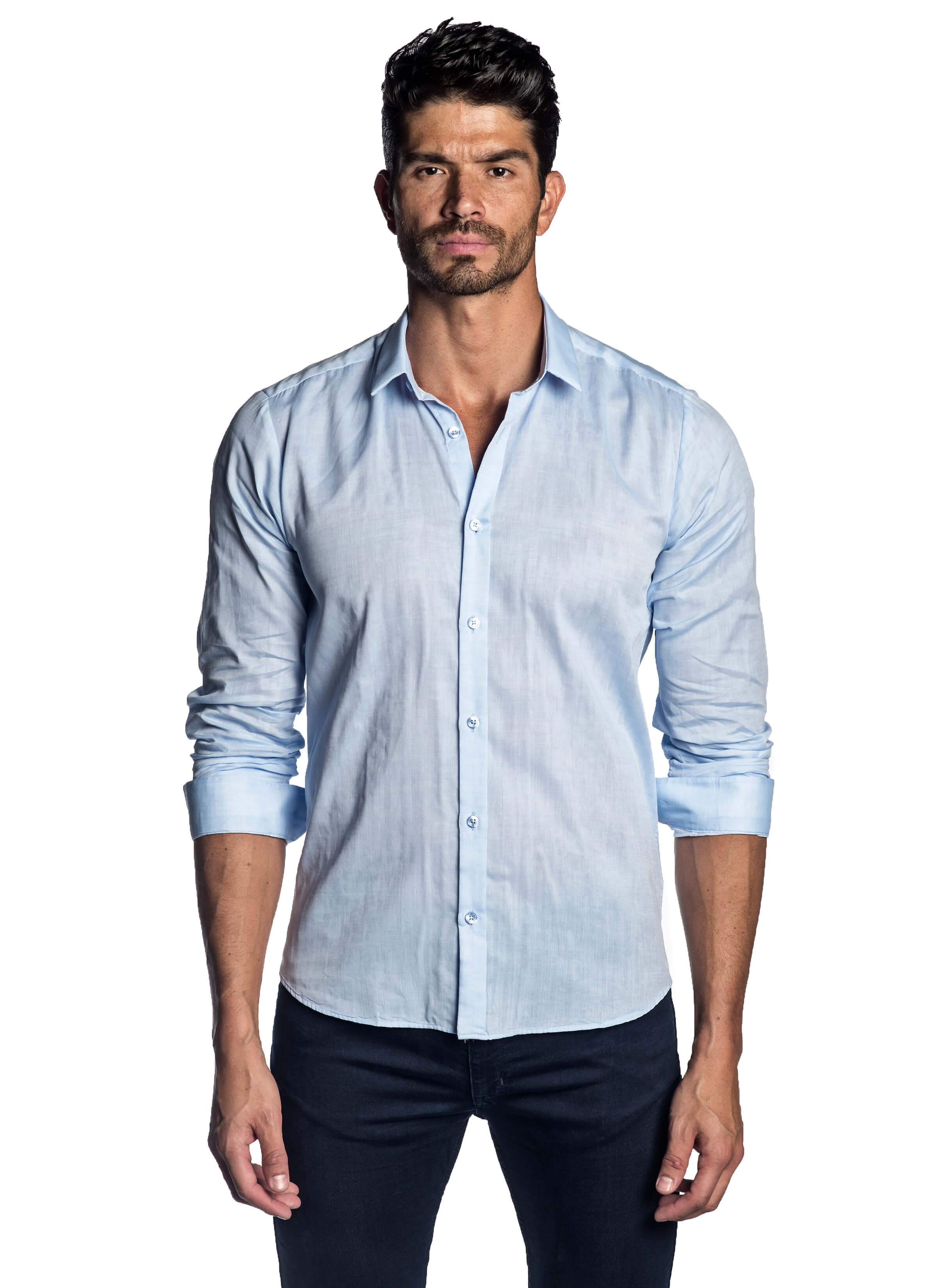 Light Blue Solid Shirt for Men - front AH-T-2032 - Jared Lang