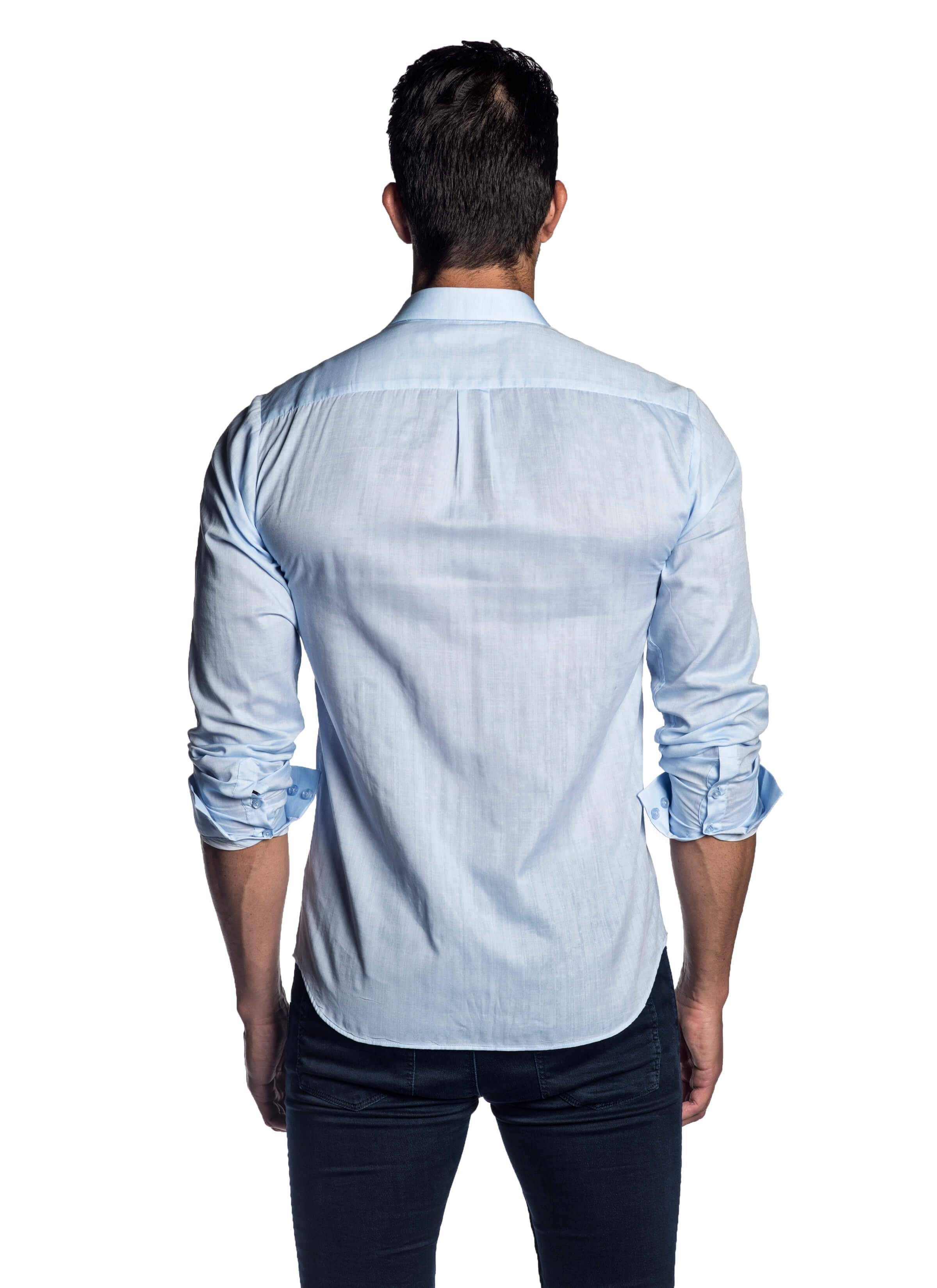Light Blue Solid Shirt for Men - back AH-T-2032 - Jared Lang