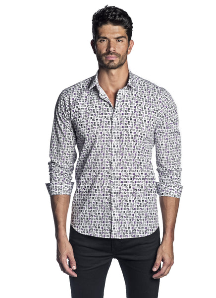 White Black and Purple Shoe Shirt for Men AH-T-2039 - Jared Lang