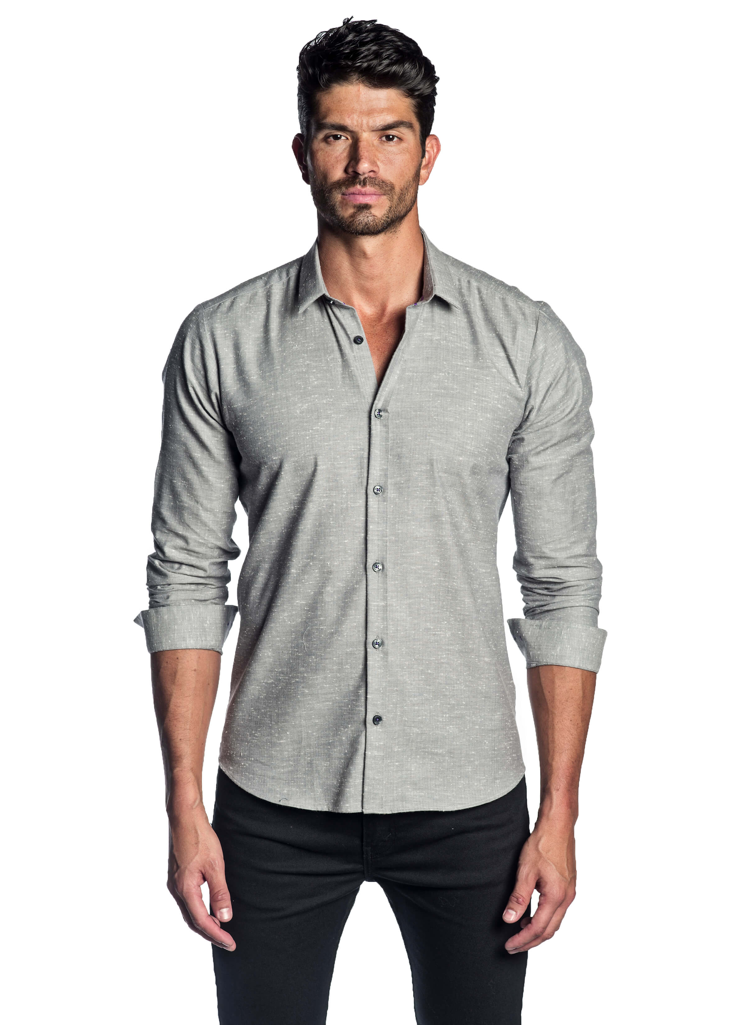 Grey Solid Shirt for Men AH-T-2042 - Jared Lang