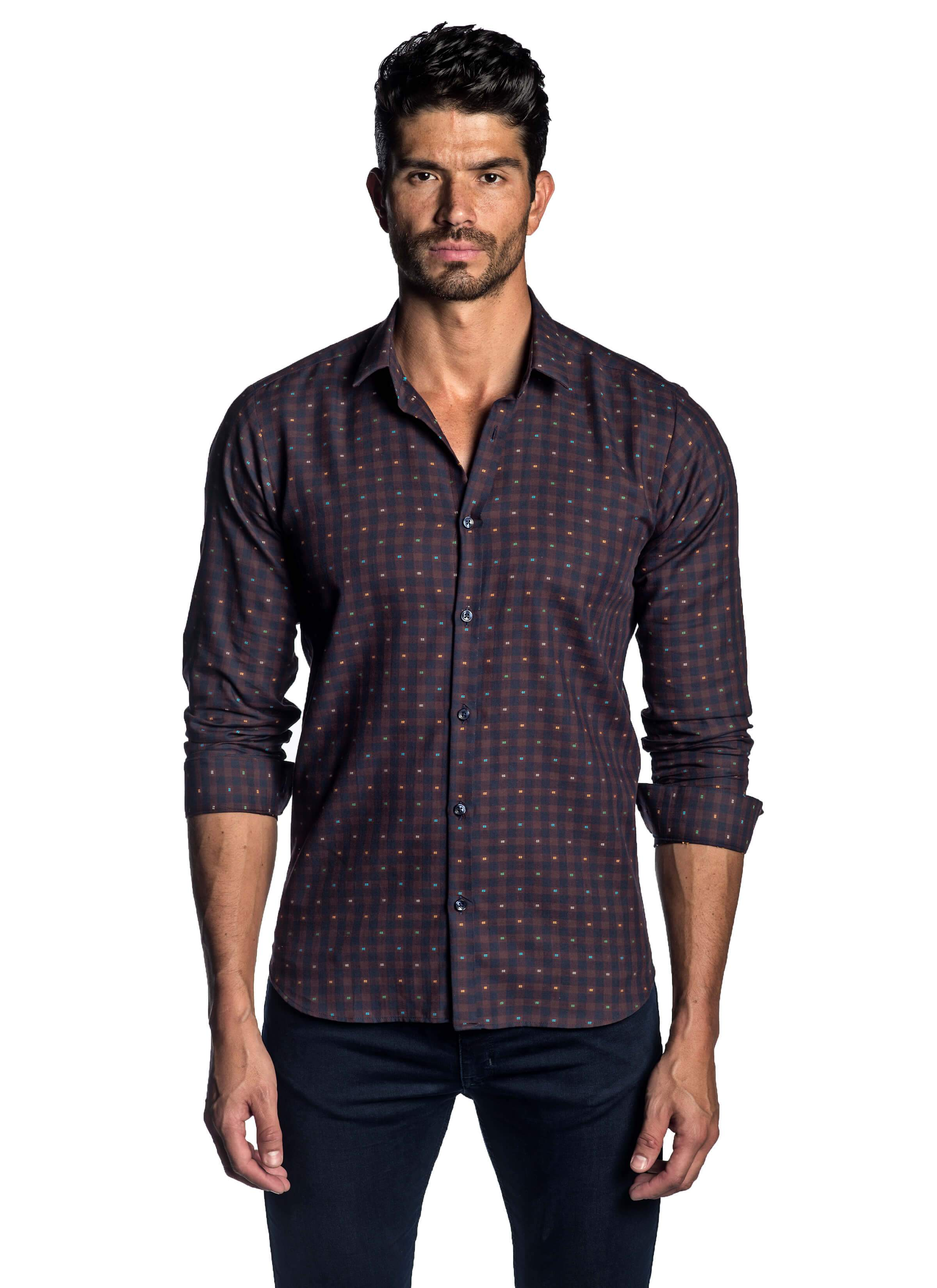 Navy and Burgundy Check Multicolor Dobby Shirt for Men AH-T-2052 - Jared Lang