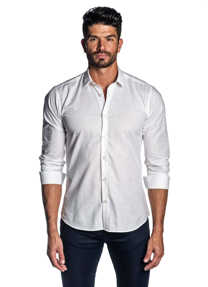 White Solid Shirt for Men - Front - AH-T-2055 - Jared Lang
