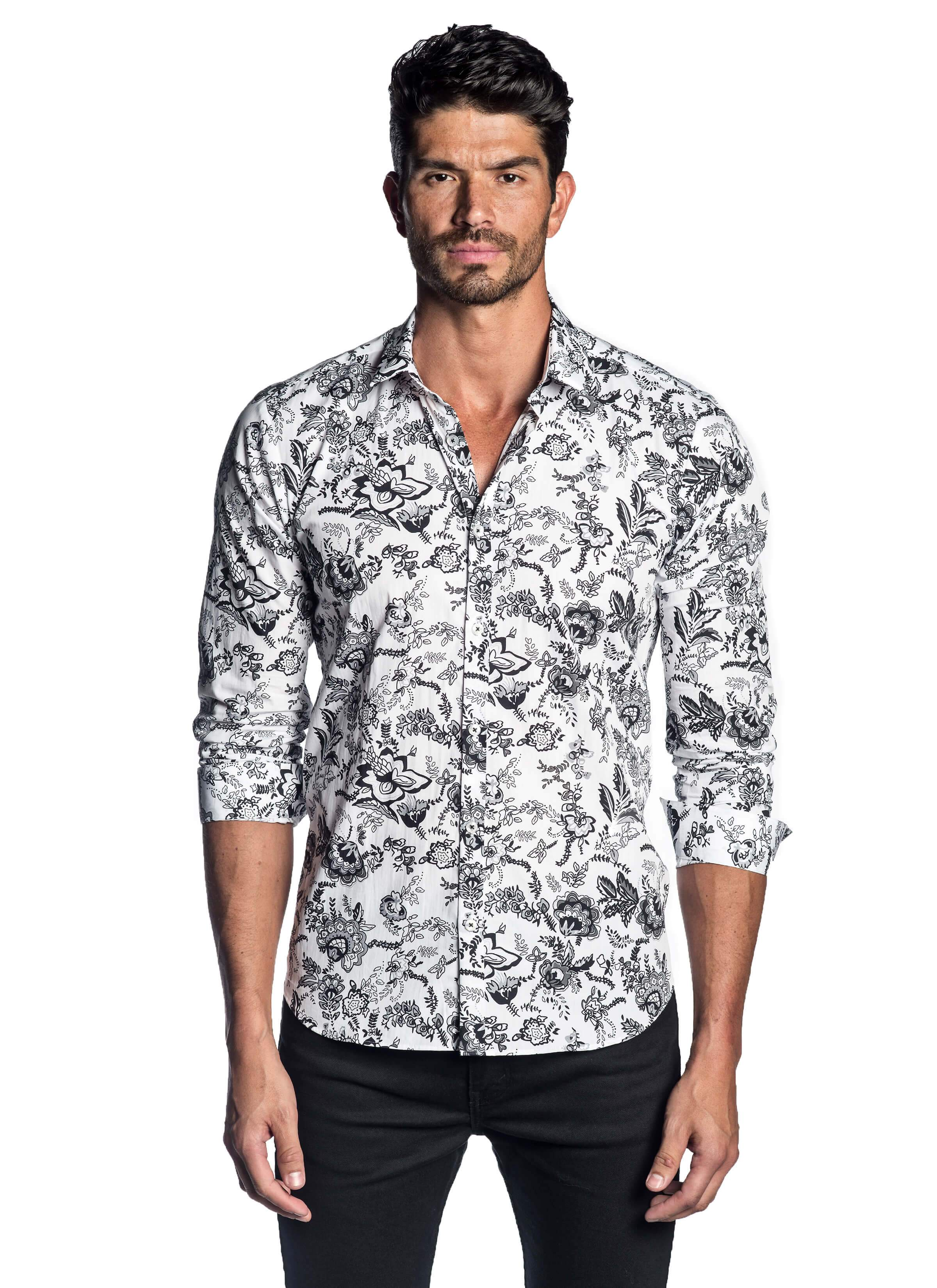 White and Black Floral Shirt for Men AH-T-2056 - Jared Lang