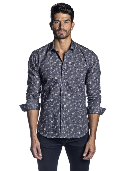 Navy and White Star Print Shirt for Men AH-T-2057 - Jared Lang