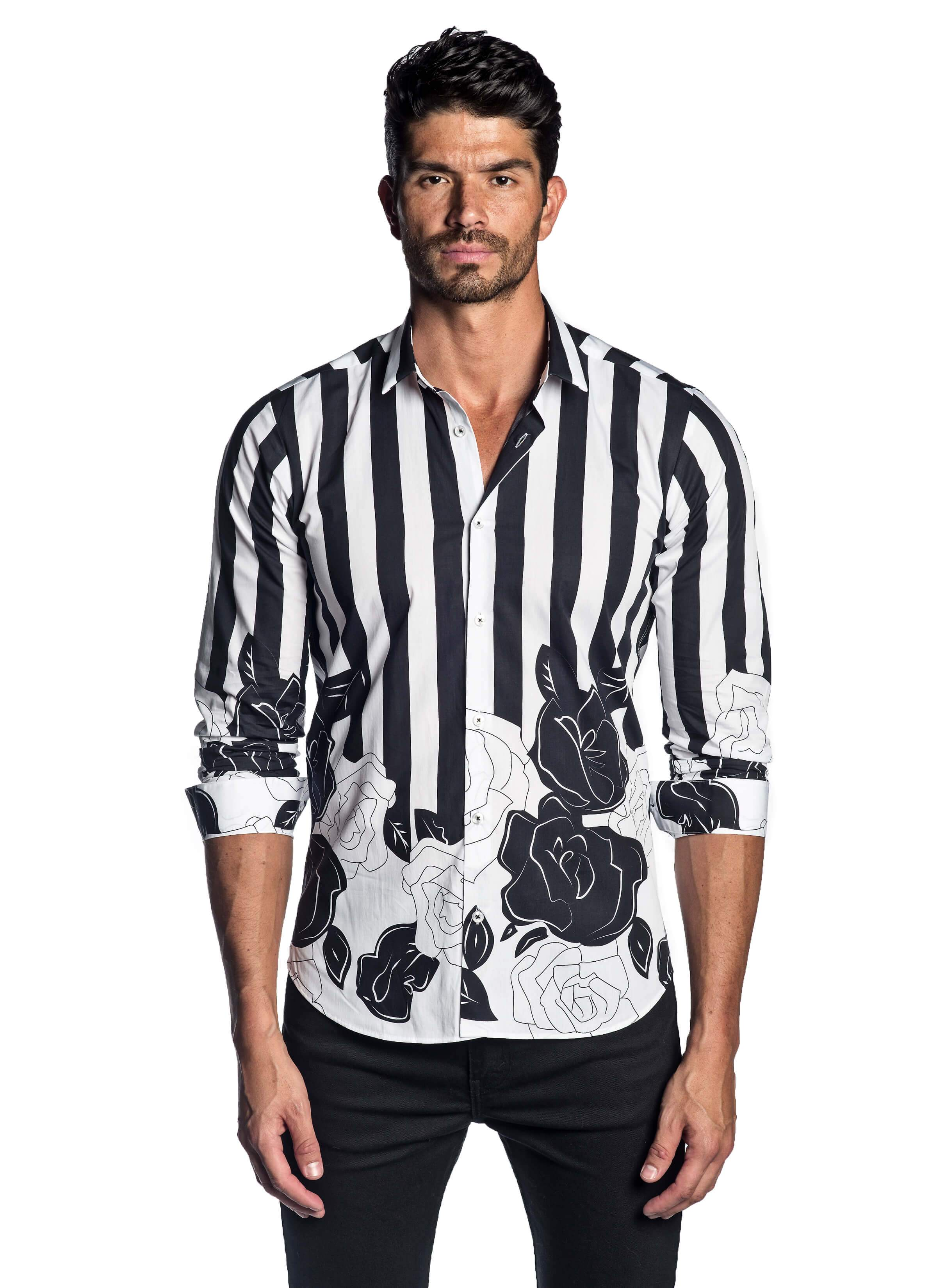 White Black Printed Floral Shirt for Men - Front - AH-T-2058 - Jared Lang