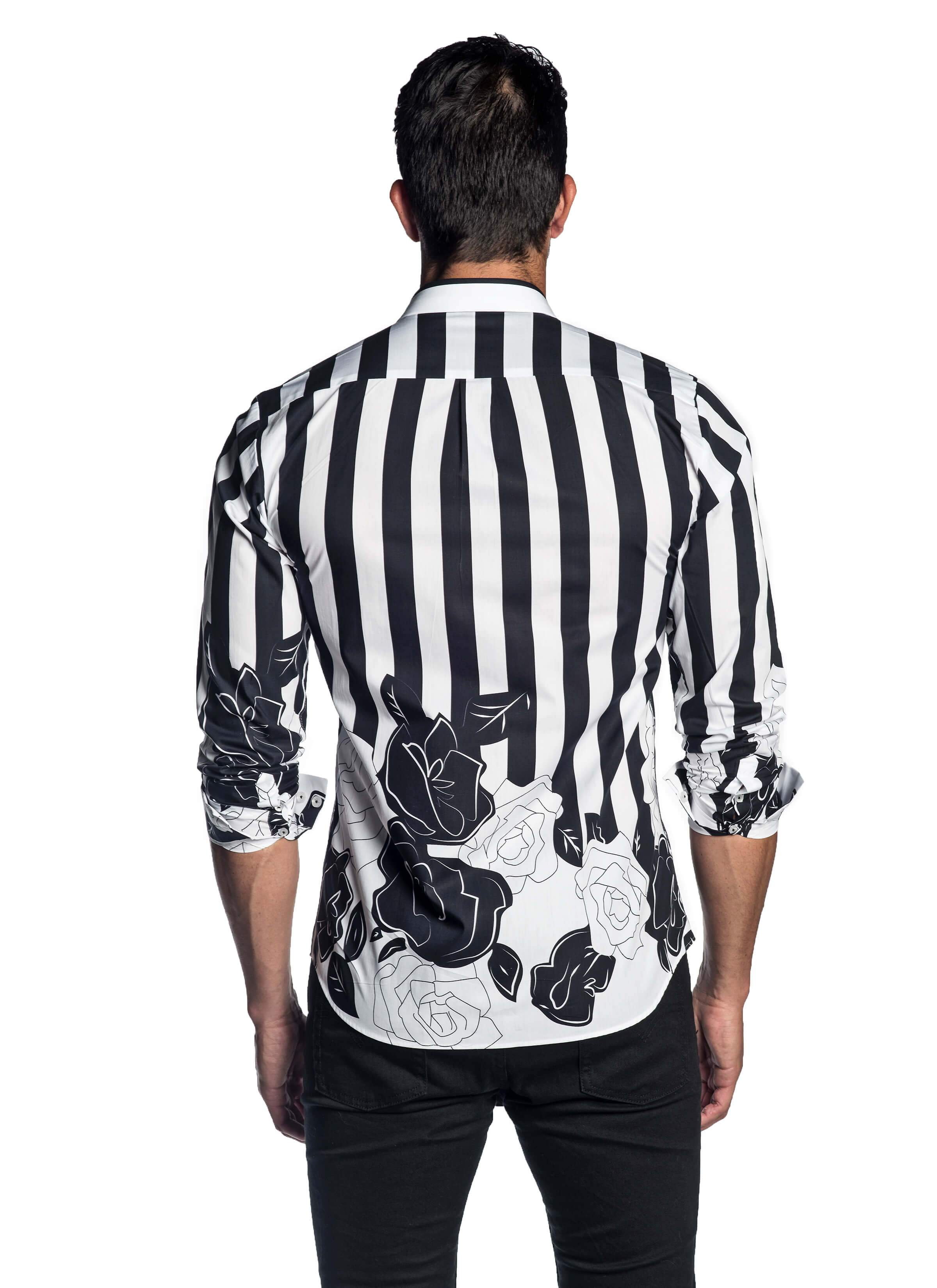 White Black Printed Floral Shirt for Men - BacK - AH-T-2058 - Jared Lang