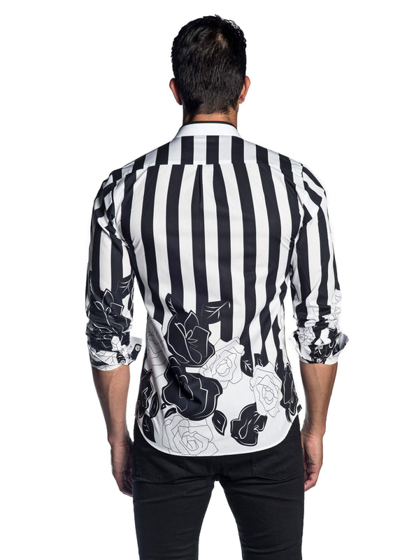 White Black Printed Floral Shirt for Men AH-T-2058 - Back - Jared Lang