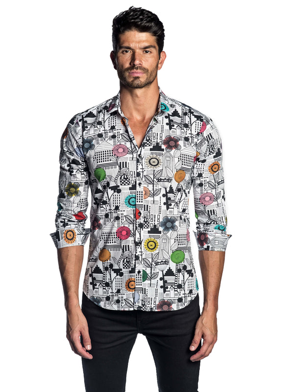 White Multicolor Floral Printed Shirt AH-T-2060 - Front - Jared Lang