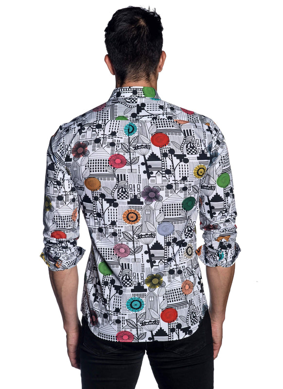 White Multicolor Floral Printed Shirt AH-T-2060 - Back - Jared Lang