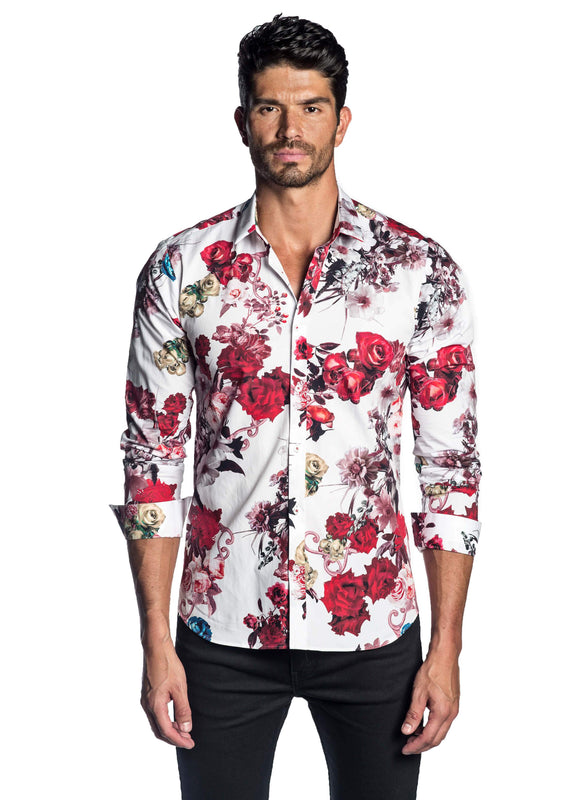 White Floral Print Shirt for Men AH-T-2068 - Jared Lang