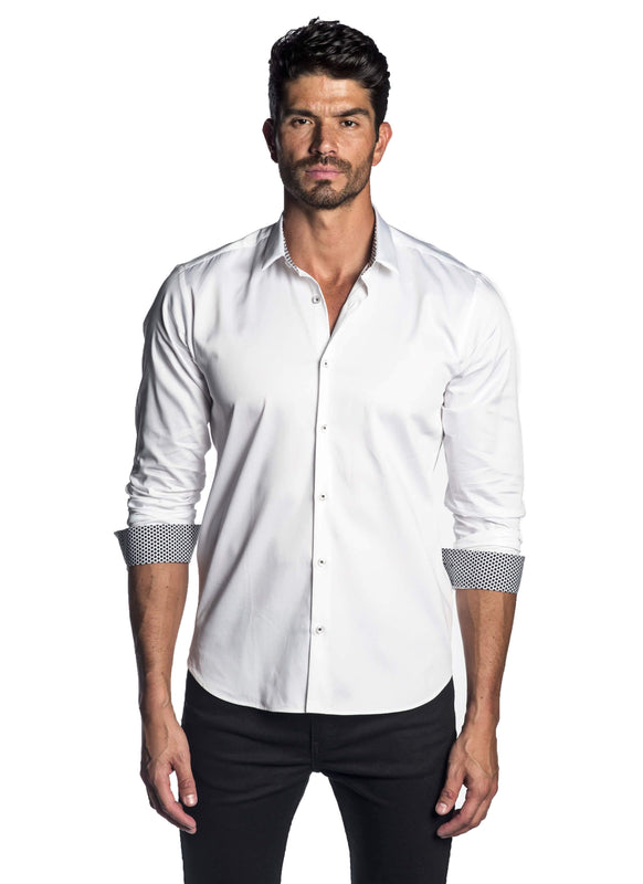 White Solid Satin Shirt with Polka Dot Trim AH-T-2071 - Jared Lang
