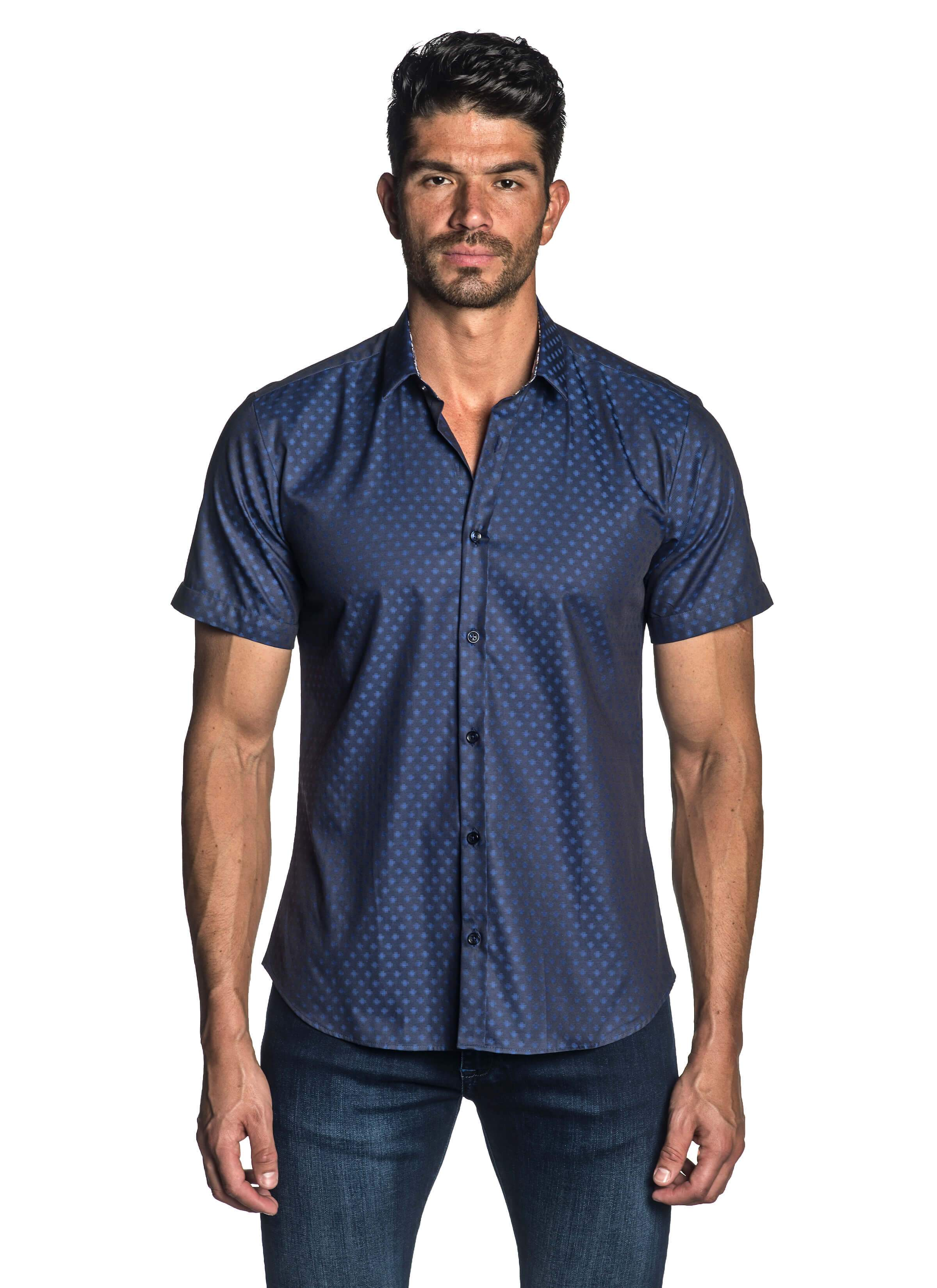 Navy Solid Jacquard Short Sleeve Shirt for Men - front AH-T-4070-SS