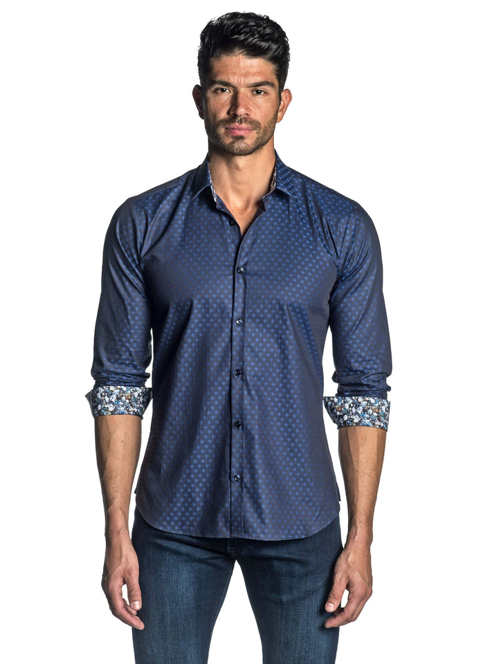 Navy Solid Jacquard Shirt for Men - Front AH-T-4070 - Jared Lang