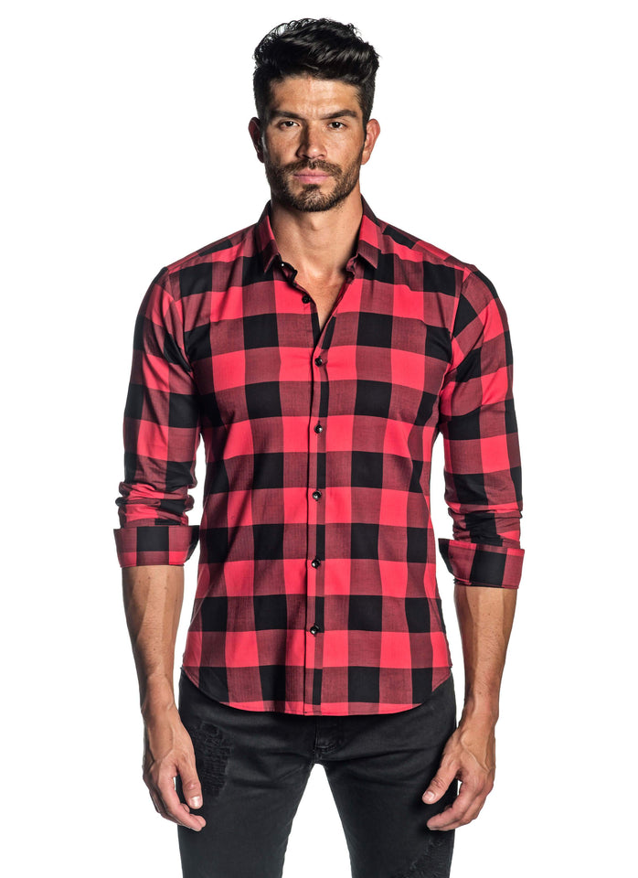 Red Black Plaid Shirt for Men AH-T-5038 - Jared Lang