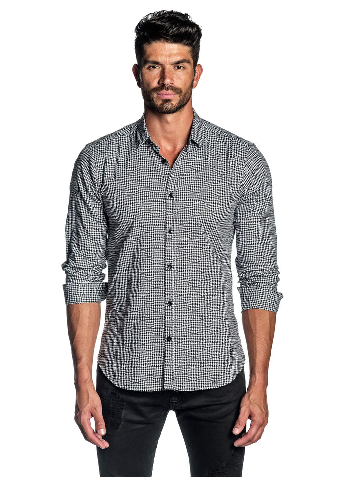 Black and White Geometric Twill Shirt with Black Trimming AH-T-5049 - Jared Lang