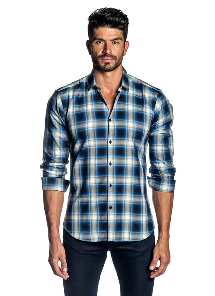 White and Navy Plaid Shirt for Men AH-OT-5075 - Jared Lang