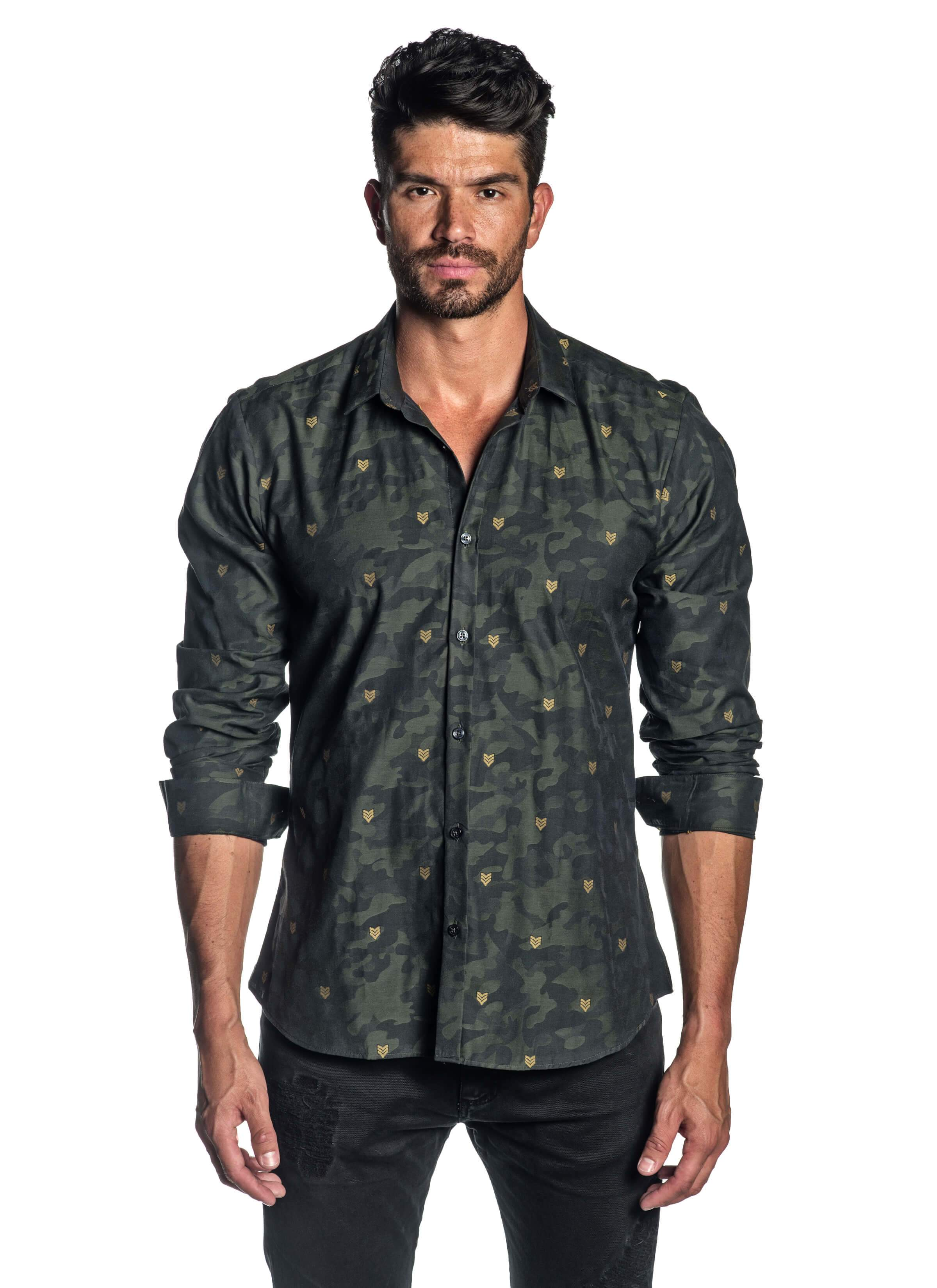 Green Camouflage Fils Coupe Jacquard Shirt for Men - AH-T-5101 - Front - Jared Lang